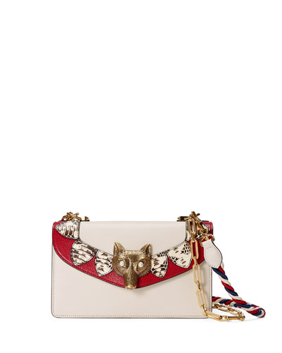 Linea E Leather & Snakeskin Shoulder Bag, White/Red