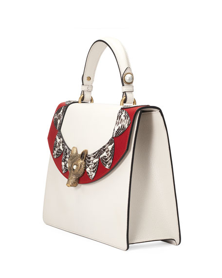 Linea E Loved Top-Handle Satchel Bag, White/Red