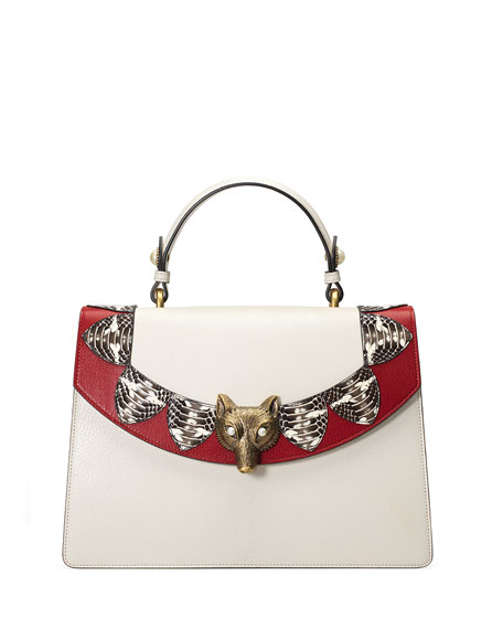Gucci Linea E Loved Top-Handle Satchel Bag, White/Red