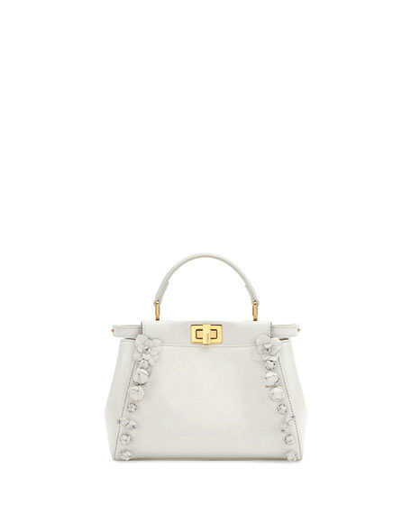 Mini Peekaboo Floral-Embellished Satchel Bag, White