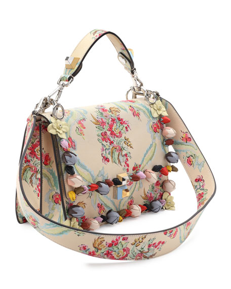 Kan I Floral Leather Shoulder Bag, Cream