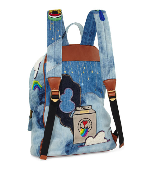 Biker Denim Patches Backpack, Blue