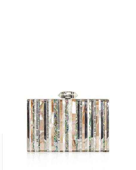 Tall Slender Shell Stripes Clutch Bag, Silver