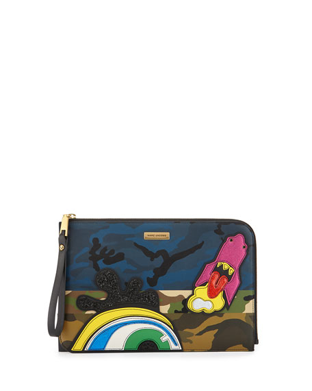 Marc Jacobs Clouds Flat Pouch Bag, Khaki/Multi