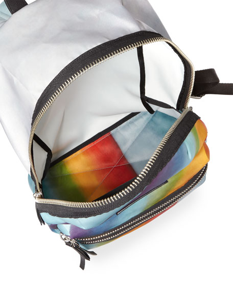 Rainbow-Print Nylon Biker Mini Backpack, Multi
