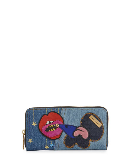 Marc Jacobs Denim Patches Continental Wallet, Blue/Multi