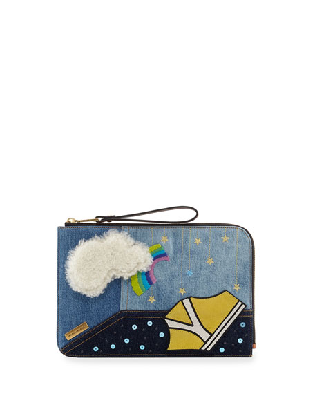 Marc Jacobs Clouds Flat Pouch Bag, Blue/Multi