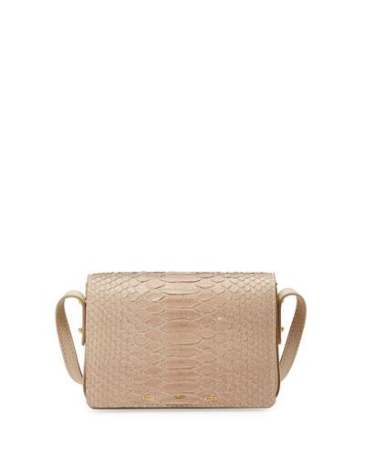Pulce Matte Python Shoulder Bag, Off White
