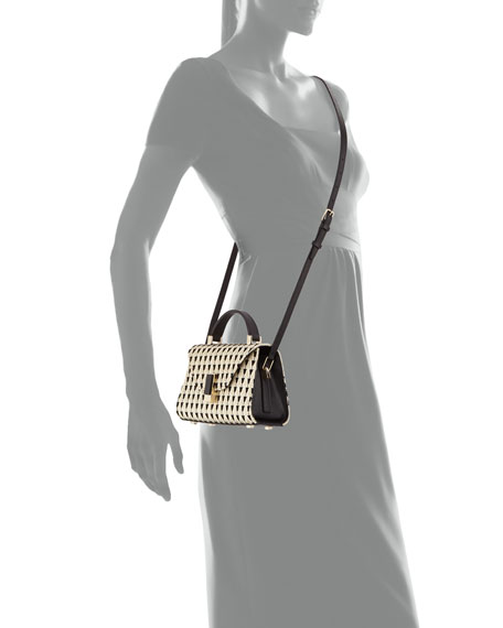 Micro Iside Embroidered Top-Handle Bag, Multi/White