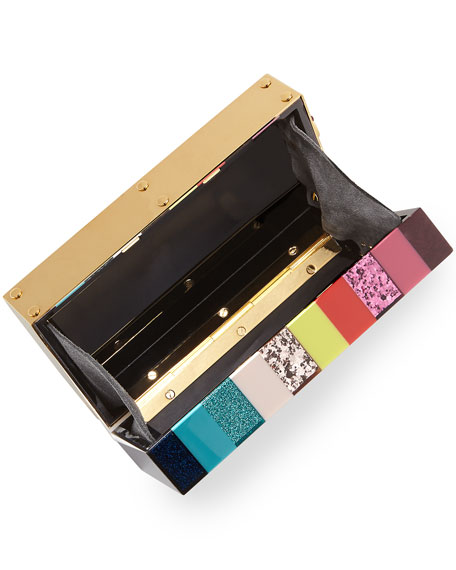 Compton Striped Box Clutch Bag, Multi