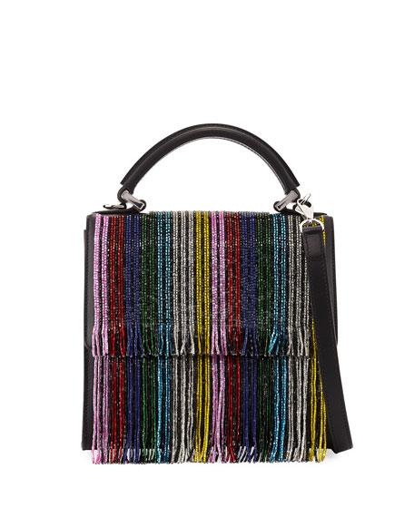 Mini Alex Fringe Satchel Bag, Black Pattern