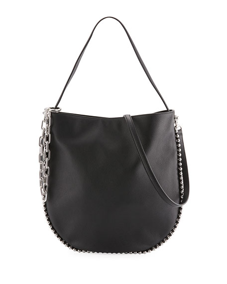 Alexander Wang Roxy Pebbled Stud Hobo Bag, Black