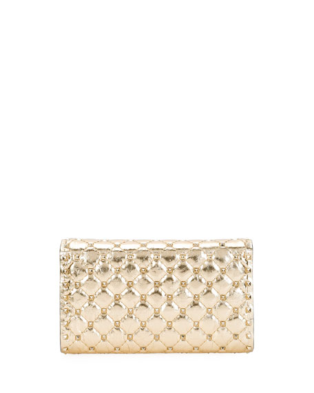 Rockstud Spike Quilted Leather Wallet on Chain