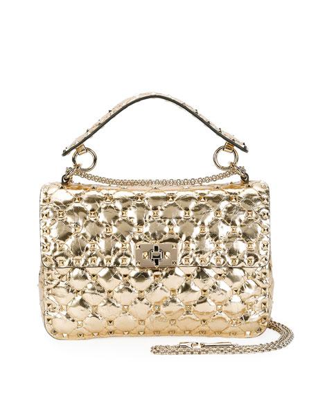 Valentino Garavani Rockstud Quilted Medium Camera Bag, Gold
