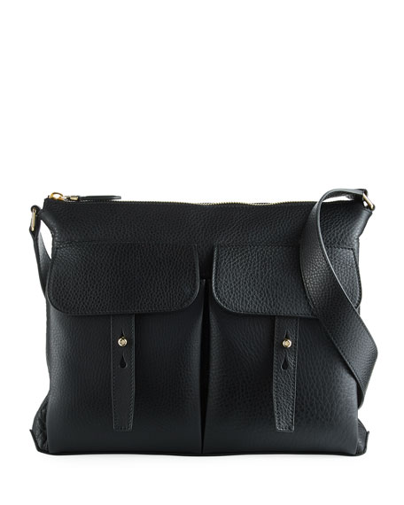 Ralph Lauren Pebbled Leather Crossbody Hobo Bag, Black