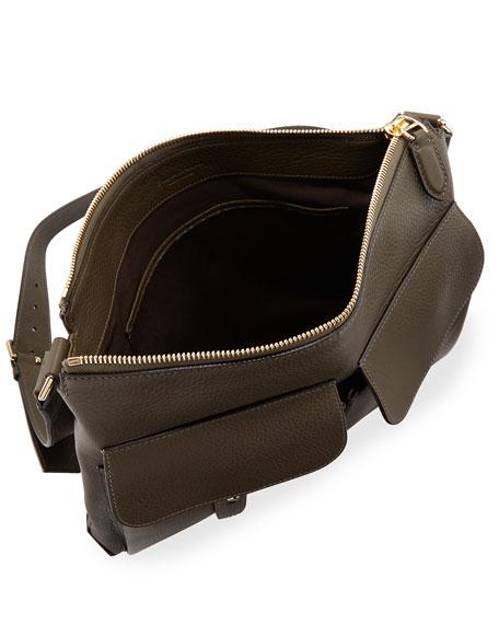 Pebbled Leather Crossbody Hobo Bag, Olive