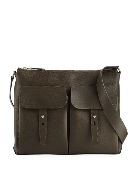 Pebbled Leather Crossbody Hobo Bag, Olive