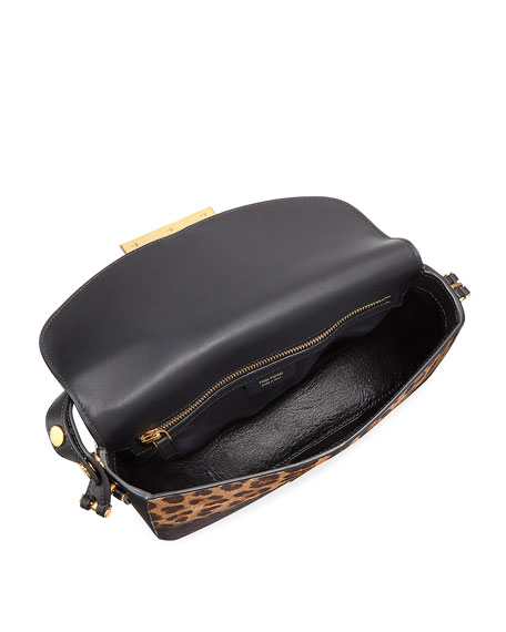 Sasha T Leopard-Print Calf Hair Shoulder Bag, Black Pattern