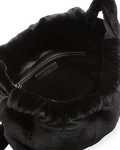 Mink Fur Knapsack Bag, Black