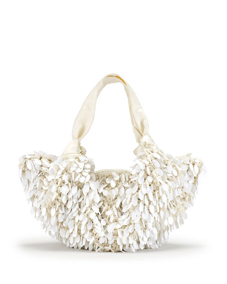 The Ascot Medium Sequined Hobo Bag, White Pattern