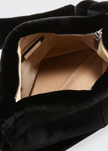 Wander Small Mink Fur Bag, Black
