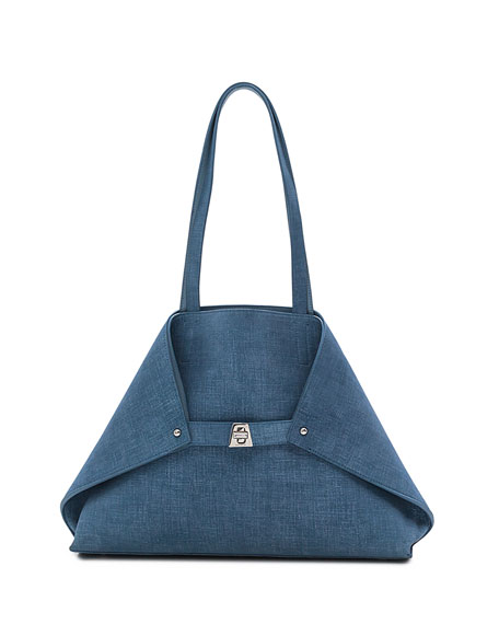 Ai Small Denim-Print Top-Handle Bag, Light Blue