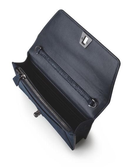 Anouk Denim Lamé Envelope Clutch Bag, Blue