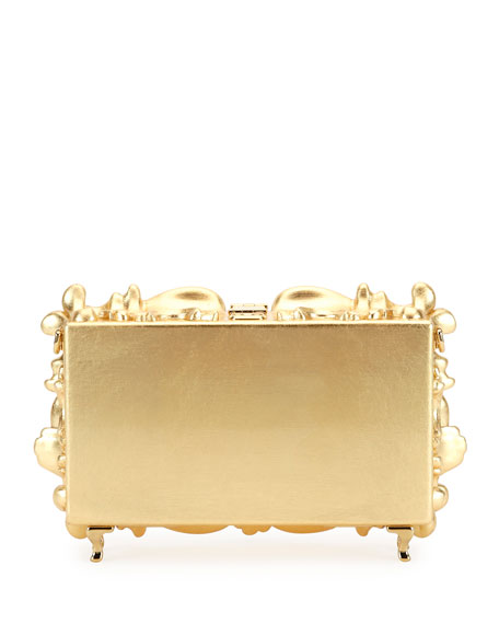 Mirrored Baroque Dolce Box Bag, Medium Yellow