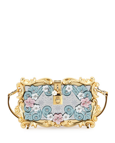 Mirrored Baroque Dolce Box Bag, Medium Yellow