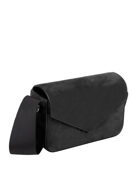 Melissa Suede Envelope Shoulder Bag, Black