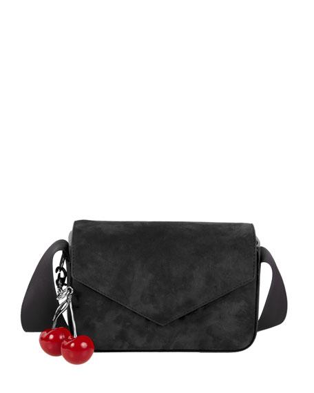 Melissa Suede Envelope Shoulder Bag, Black