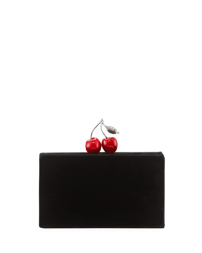 Jean Cherry Velvet Clutch Bag