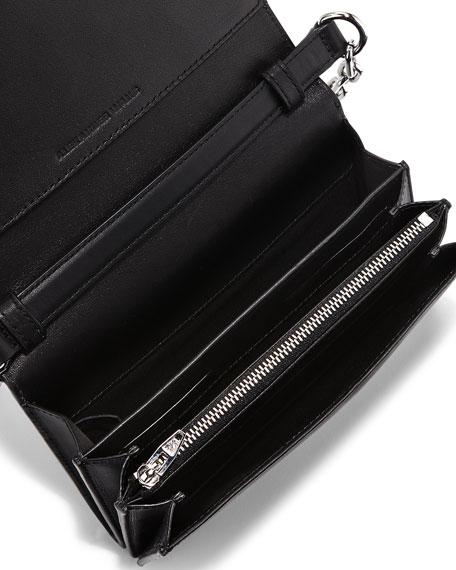 Attica Checkered Leather & Snakeskin Shoulder Bag, Black