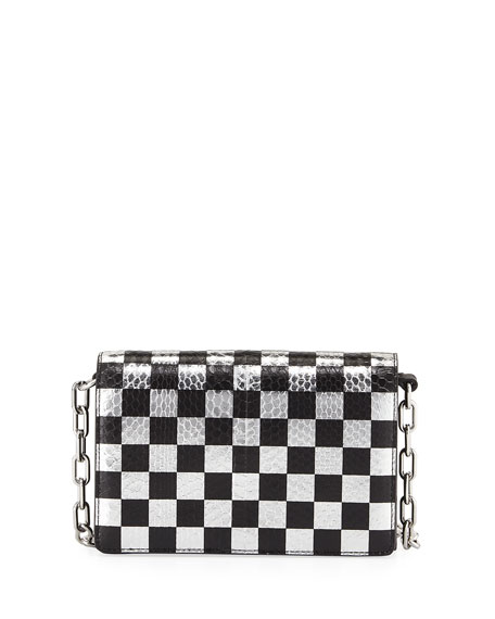 Alexander Wang Attica Checkered Leather & Snakeskin Shoulder