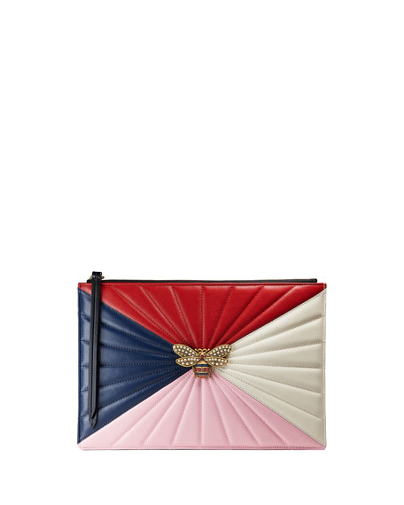 Colorblock Fly Zip Wristlet Pouch Bag, Red/Multi