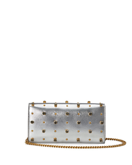 Broadway Tiger-Embellished Leather Clutch Bag