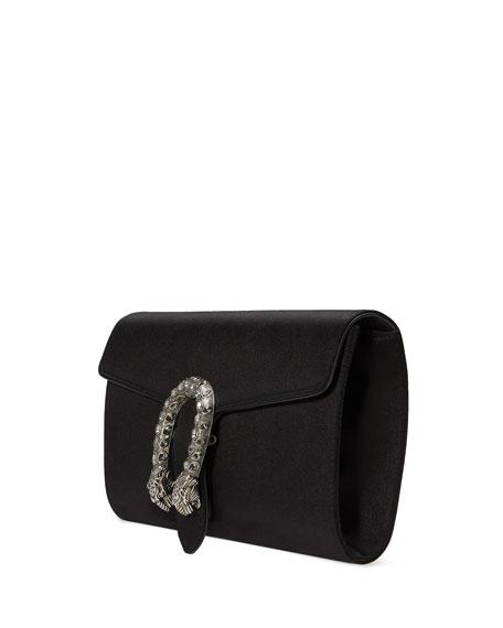 Dionysus Satin Clutch Bag, Black