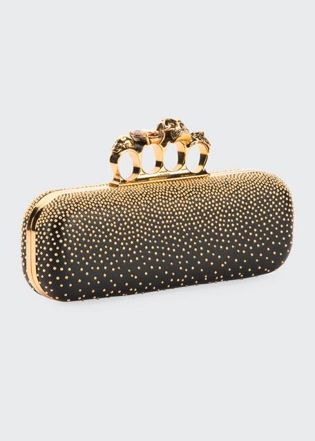 Knuckle Studded Leather Box Clutch Bag, Black