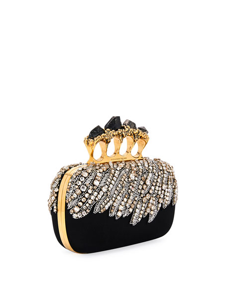 Eagle-Embroidered Knuckle Clutch Bag, Black