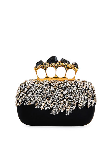 Alexander McQueen Eagle-Embroidered Knuckle Clutch Bag, Black