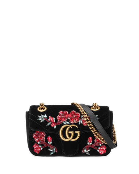 5a7b27cd3d3ebd Gucci GG Marmont 2.0 Mini Velvet Shoulder Bag, Black