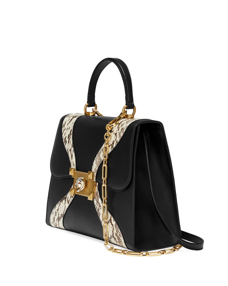 Linea Medium Leather & Snakeskin Top-Handle Bag, Black Pattern