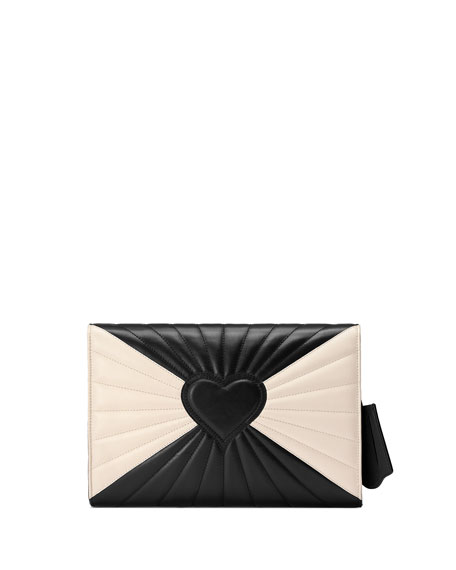 Small Linea Bee Clutch Bag, Black