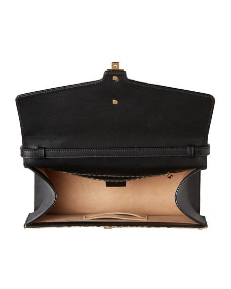 Sylvie Medium Calf-Hair Top-Handle Bag, Neutral
