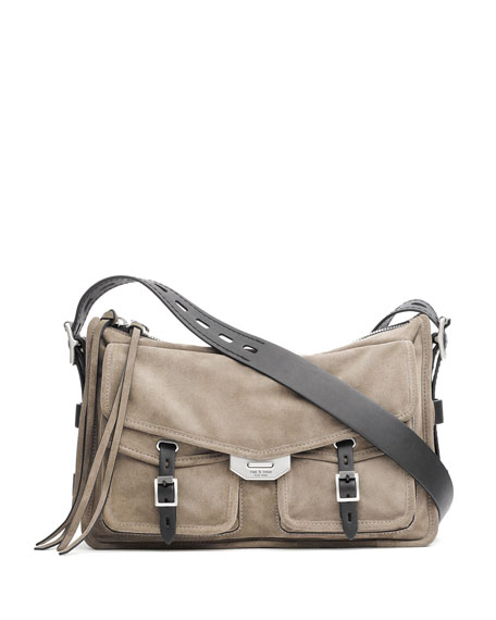Field Suede Messenger Bag - Grey, Gray