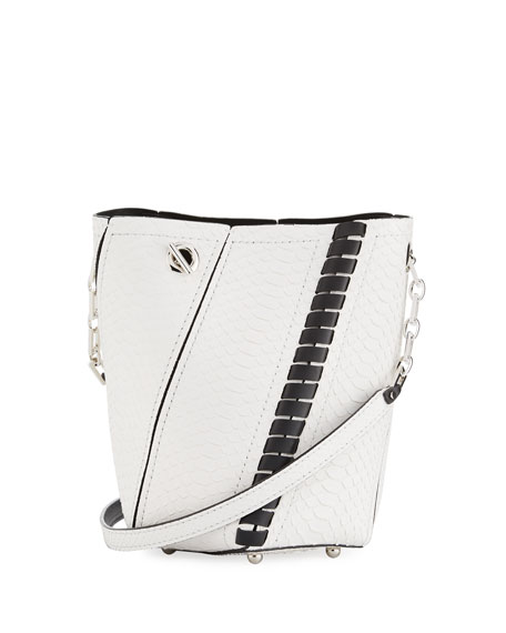 Hex Mini Whipstitch Python Bucket Bag