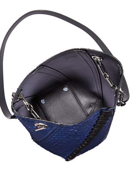 Hex Mini Python Whipstitch Bucket Bag