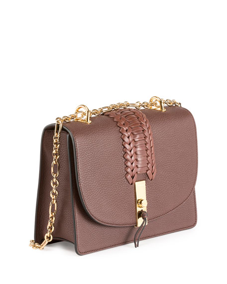 Ghianda Braided Leather Chain Shoulder Bag, Brown