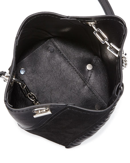 Hex Mini Leather Bucket Bag, Black