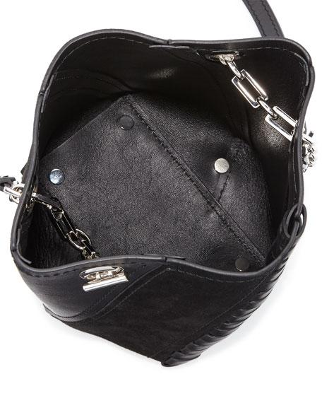 Hex Mini Leather Bucket Bag, Black
